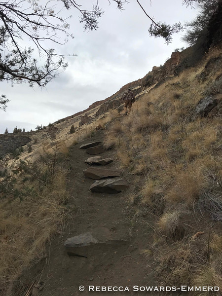 Climbing back out. Steep pea gravel, whee.