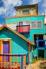 A multi-colored home in Rockaway Beach, Oregon, USA.