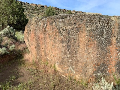 Stopped by a weathered petroglyph rock in Malheur