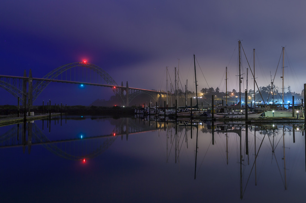 Foggy night in Newport harbor