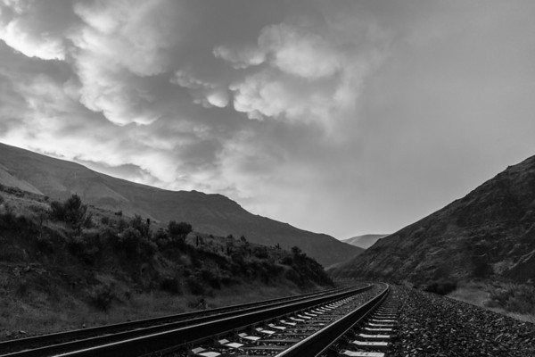 Post Storm Cloud Texture Above the Tracks (Colorless)
