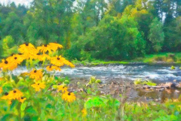 McKenzie River in watercolor filter