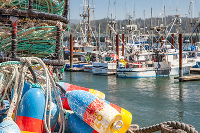 Crab traps, floats, and working boats in the Newport Harbor on Yaquina Bay, Oregon.
