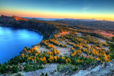 Crater Lake as seen from Watchman's Overlook at Sunset