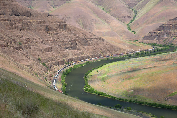 Southbound Freight Train Meandering through the Deschutes River Canyon