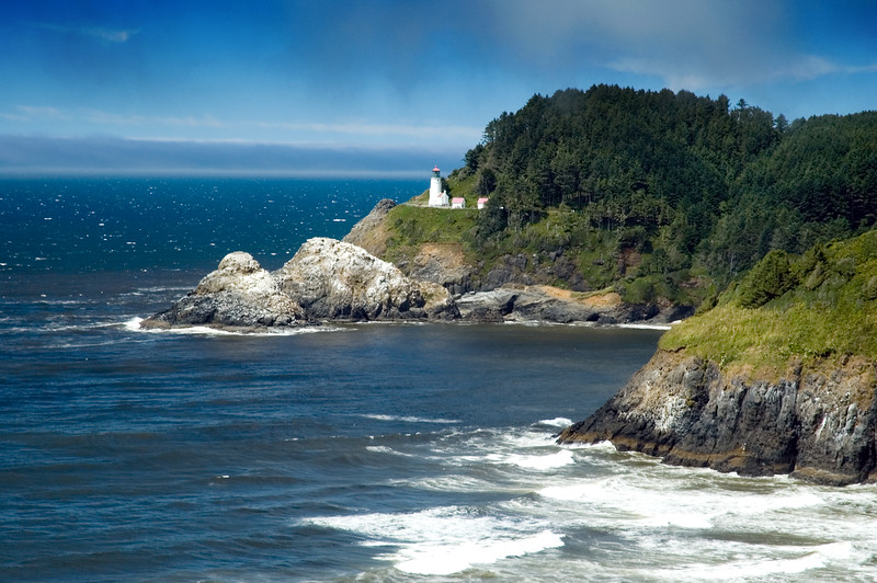 Heceta Head Lighthouse from the coast road, looking north, here we are north of Florence, OR.<br /> ND70_2006-07-25DSC_5907-HecetaHeadLighthouseCloseup-2 copy.jpg