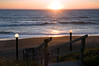 """An inviting view of the ocean on the Oregon Coast at sunset, looking through the Cavalier condo stairs to the beach. """"Come on down, the water's fine!""""<br /> <br /> ND70_2006-07-17DSC_5018-CavalierSunsetThroughStairway-2 copy.jpg"""