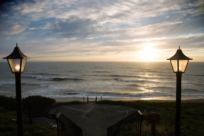 Sunset on the Central Oregon Coast at the Cavalier Condo<br /> July 2008<br /> <br /> Copyright © 2008 Rick Kruer<br /> rickkruer.com<br /> <br /> D200_2008-07-14DSC_6748-CavalierWalkwaySunset-2.psd