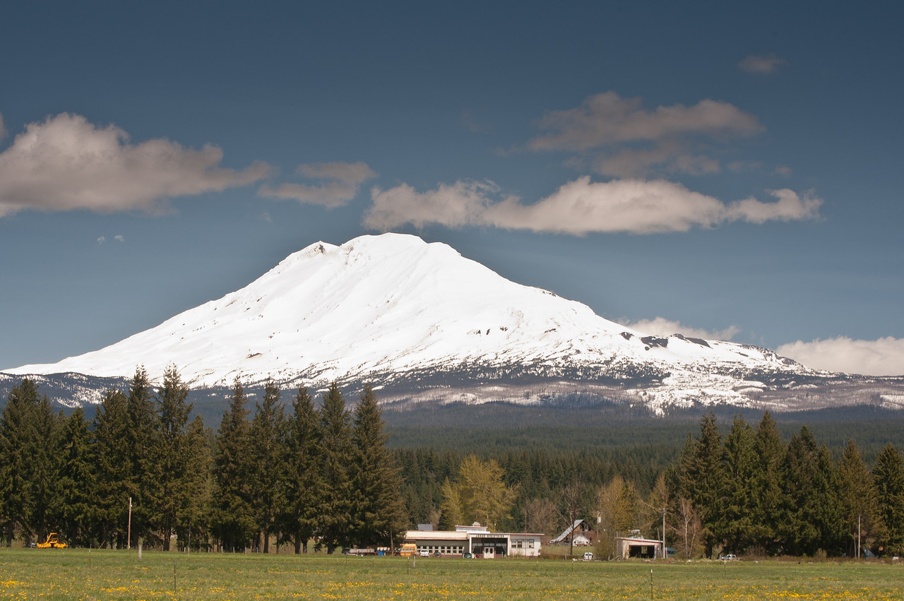 Mount Adams from the town of Trout Lake.