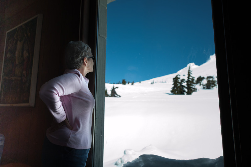 Gerry Looking out a second floor window at Timberline Lodge.  The snow was 21 feet deep at the lodge, and all first floor windows were below the snow depth.