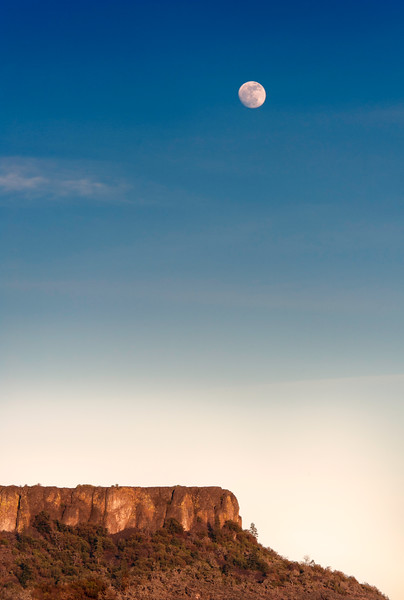 Lower Table Rock and moon.<br /> © 2012 Jim Craven, All rights reserved.