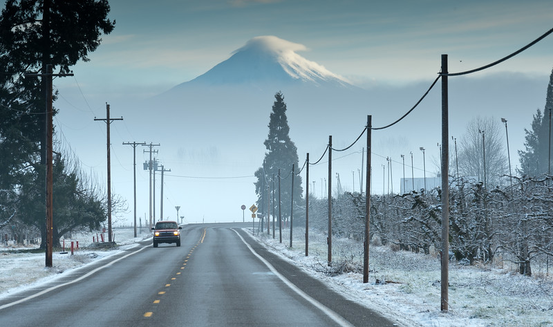 Orchards, country road and Mt. McLoughlin<br /> © 2011 Jim Craven, All rights reserved.