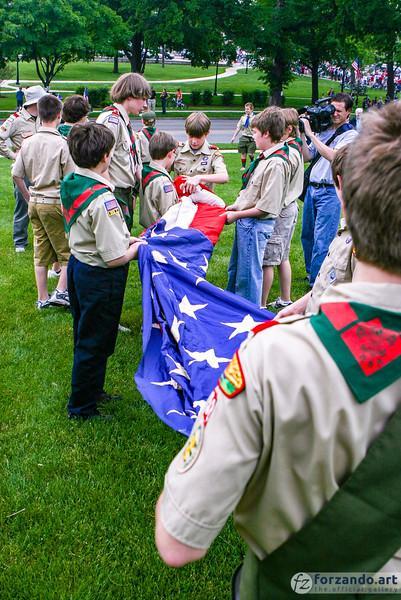 Scouts Retire the Colors