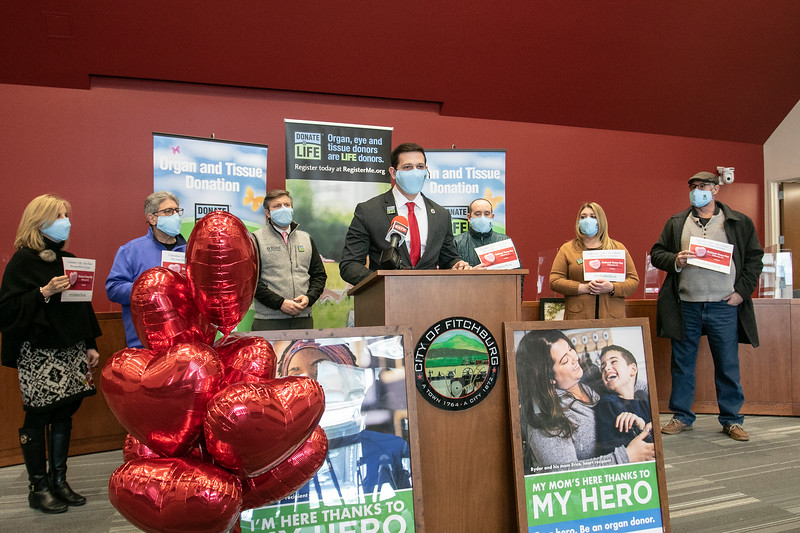 """The City of Fitchburg celebrated Valentine's week by joining an organ donor recipient and others touched by organ donation to celebrate national Organ Donor Day and ask people to """"Have a Heart and get a Heart"""" by registering as a donor at the RMV when getting or renewing your driver's license, Real ID, or ID. State Representative Michael Kushmerek speaks at the press conference about the importance of being an organ donor. SENTINEL & ENTERPRISE/JOHN LOVE"""