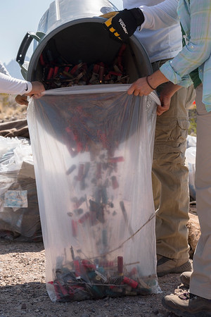 Collected litter from an illegal dumpsite outside of Las Cruces, New Mexico.