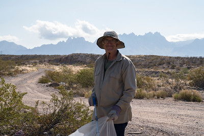 Dennis Grover, from Las Cruces Geocachers, participates in the Friends of Organ Mountains-Desert Peaks and the Illegal Dumping Partnership clean up in Las Cruces, New Mexico.