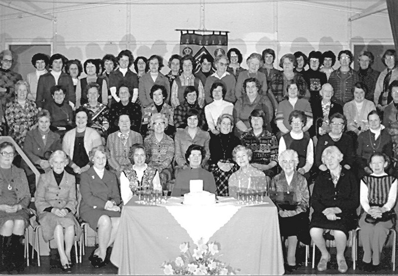 <center><font size=3><u> - WI Golden Jubilee - 16th March 1977 </u></font> (BS0412)  Group photo in Village Hall </center>