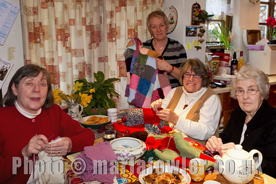 Eleanor, Anna, Janet and Jean.  Two days of Open House at Anna's for members of the Grange Singers, Dovercourt Choral Society and the Harwich Society. The invitation was to sew together knitted squares to form blankets to be taken to Kosovo by the Hope & Aid Direct charity (http://www.hopeandaiddirect.org.uk/) who work closely with the Mother Teresa Society in the Balkans.The temperature has dropped to -22 degrees in the region, and donations of wool for knitting or crocheting into squares for more blankets will be appreciated.  The Mayoress, Eleanor Brown, was joined by sewing friends, including the former Mayor and Mayoress, Steph & Eileen Tyrer, whose association with aid to the Balkans goes back to 1999 at the start of the Kosovo conflict. Multi-coloured blankets have been produced over these two Open House Days with the aid of coffee & cake and home-made bread & cheese snacks to keep them going. (Anna Rendell-Knights)