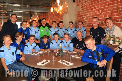 Little Oakley FC Under 13's team end-of-season lunch, at The Pier, Harwich. Celebrating promotion to the A League.
