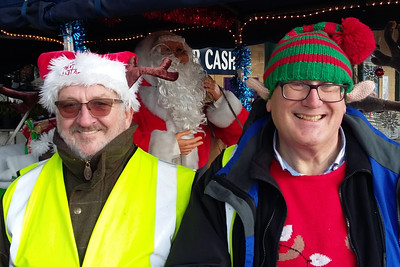 Santa's Rotary Elves Alan Thomas and John Wade with Rudolph & Santa's Sleigh at Morrisons Supermarket, Dovercourt.