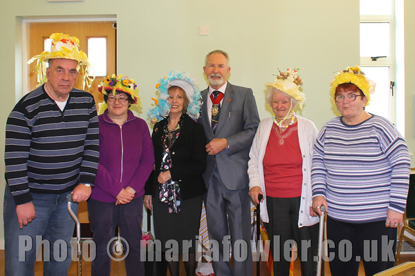 L-R: Malcolm Leith, Gilly Munson, Cllr Dee King, Deputy Mayor Cllr Dave McLeod, Nellie Mills and Jean Huckstepp.Tendring Specialist Stroke Service, Easter bonnet Competition, Easter Tea Party, Dovercourt Central Church.Further information contact: Tony Whitmarsh on 01255 504456 or Helen email rebvic@talktalk.nethttp://www.tendringspecialiststrokeservices.org.uk/21st March 2013