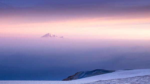 Sunrise on Mount Rainier from Mount Adams