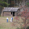 troop cabins at Morristown historic site, NJ.  Winter encampment of Washington's army in winter of 1780.