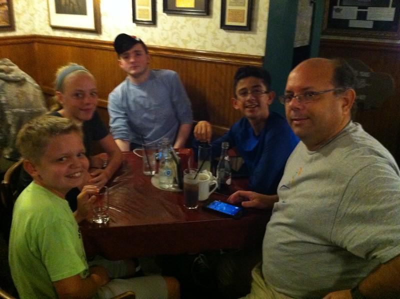 dinner at Schwabl's in Buffalo, NY - Ethan, Priscilla, Skyler, Peyton, Matthew