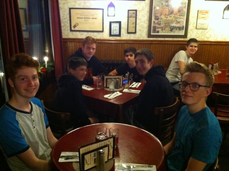 dinner at Schwabl's in Buffalo, NY - Noa and Graham (front), Luke, Jordan, Braydon, Mahlon, Nathan