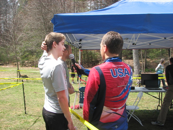 Nathan gets interviewed after his race