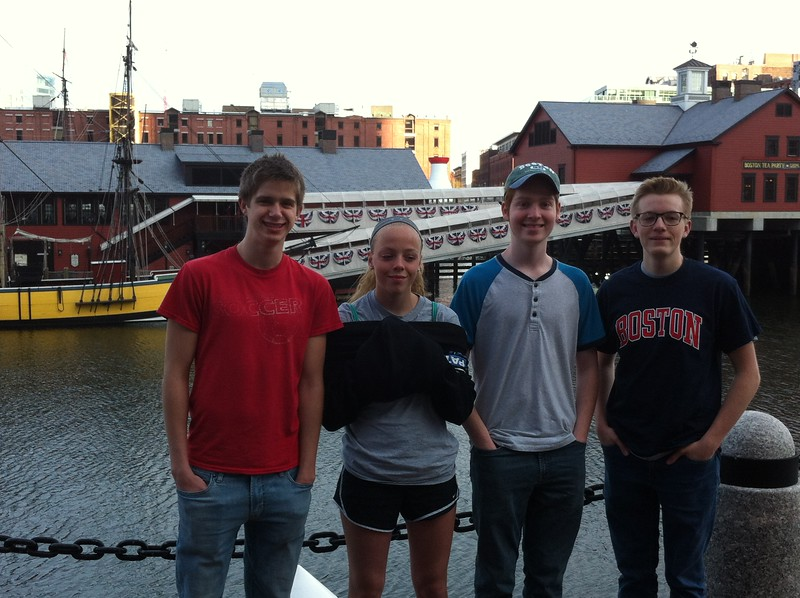 Boston harbor - Nathan, Priscilla, Noa, Graham