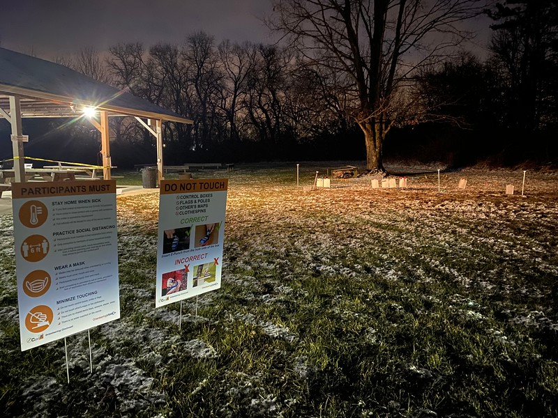 Night orienteering Dec 31, 2020.  photo by Mike Minium