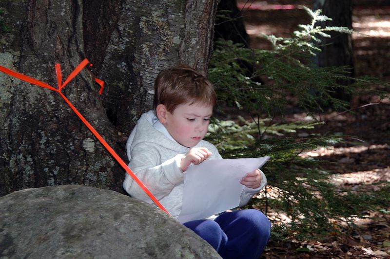"<b>Studying the string-O course</b>   (Sep 11, 2004, 12:05pm)  <p align=left>All orienteering meets feature a ""string course"", for the very young.  A string course is a very short orienteering course, where the entire course is marked with a colored ribbon.  Participants only have to follow the string, and collect stickers at each of the controls (one of the string course controls is shown in the next picture).</p>  <p align=left>There is a map for a string course, but the map tends to be very simple (after all, you only have to follow the string).  But I had to keep this picture of a string course participant carefully studing the map before setting out.</p>"