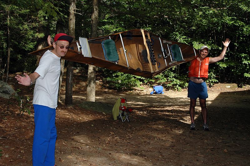 <b>JJ and Aims and their winning canoe</b>   (Sep 11, 2004, 03:16pm)  <p align=left>JJ and Aims are showing off their racing canoe, the same boat they used to win the national championship.  This canoe moves almost as fast in the water as it does on land :-).</p>