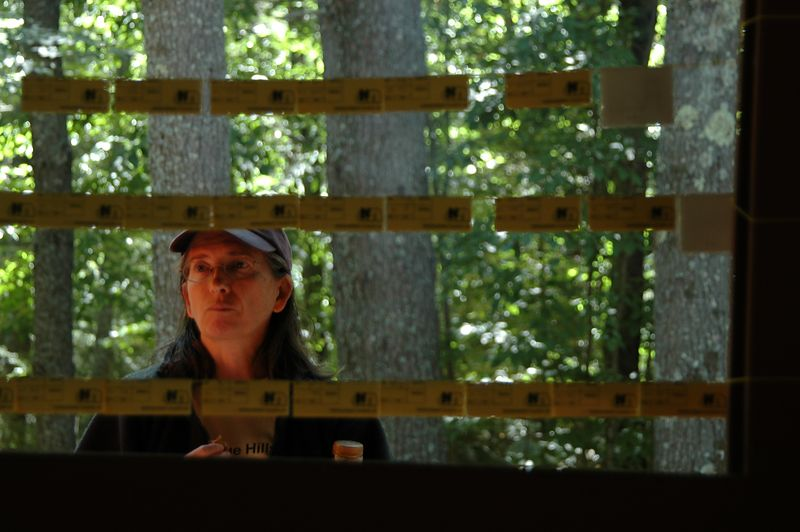 <b>Gail Gagarin checks out the results</b>   (Sep 12, 2004, 12:43pm)  <p align=left>The foot-O (and canoe-O) results were posted on strings hanging between posts in the pavillion.  I was able to catch some candid pictures of people checking out the results.  The real trick was to see their whole head between the rows of results.</p>