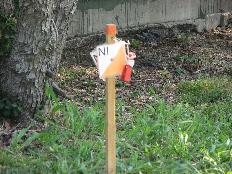 Mini-control marker at the Score-O Course in Forest Park, St. Louis, MO, June 9 - photo by Sam Kelsch