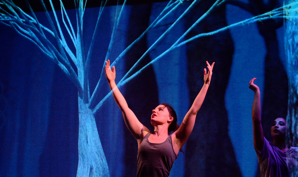 . Leah Woods raises her arms to a tree like projection during a performance of Origin Stories at the ATLAS Black Box as part of the Conference on World Affairs Thursday. The dance and visual production, are a part of Artist Kenji Williams\' BELLA GAIA project.  For more photos from the performance go to www.dailycamera.com Paul Aiken Staff Photographer April 13, 2017