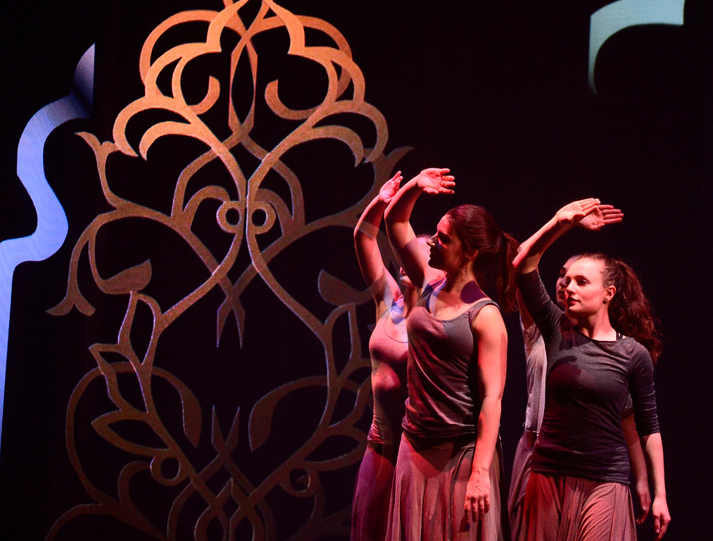 . Dancers Lina D\'Albero, Emma Scholz, Sara Varro and Leah Woods during a performance of Origin Stories at the ATLAS Black Box as part of the Conference on World Affairs Thursday. The dance and visual production, are a part of Artist Kenji Williams\' BELLA GAIA project.  For more photos from the performance go to www.dailycamera.com Paul Aiken Staff Photographer April 13, 2017