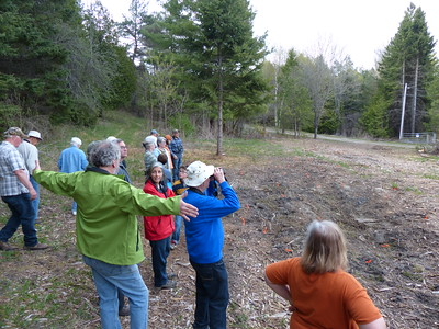 WBFN members looking at a recently planted area with shrubs such as Elderberry