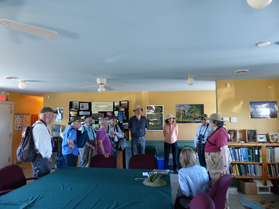 WBFN members and guests gather inside the ABOS Ecology Centre to receive an orientation on the Alderville Black Oak Savanna and the Bluebird nesting box program from outing leader Elizabeth Kellogg.