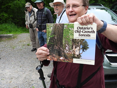 "Sue Paradisis giving orientation on old growth forests like Peter's Woods and referencing the book ""Ontario's Old Growth Forests"""