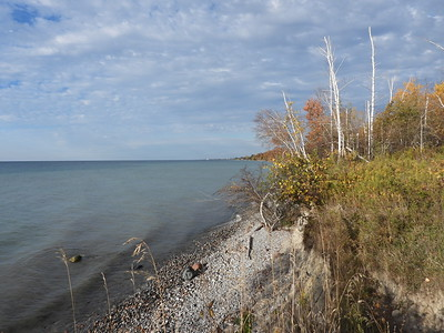 Lake Ontario shoreline, looking back towards Cobourg