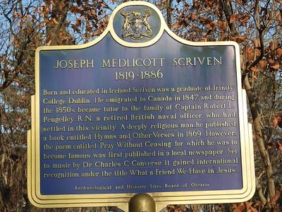 Joseph Scriven plaque