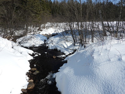 View of creek and ice formation