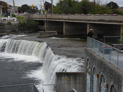 Fenelon Falls with fishermen - Heron was nearby watching them in attempt to steal fish