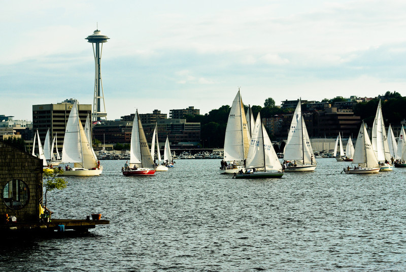 Houseboats, sailboats, Space Needle, Lake Union.