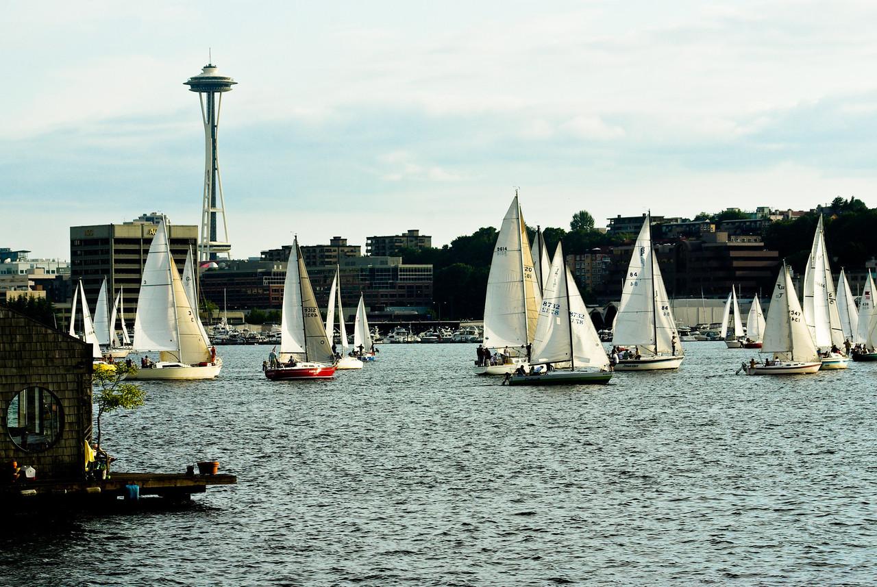 Houseboats, sailboats, Space Needle, Lake Union.