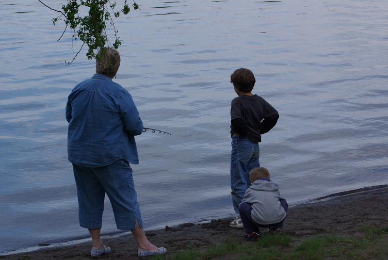Grandma and the little boys fishing at GreenLake