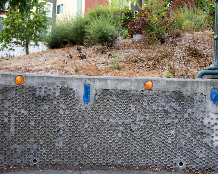 Decorated retaining wall.