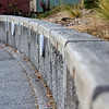Retaining wall made from permeable concrete.